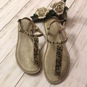 Frye, white wash leather sandals